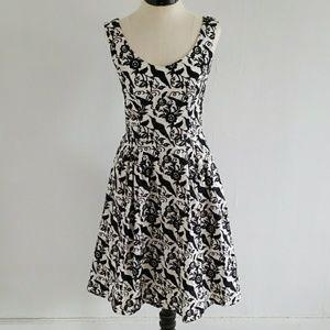 BETSEY JOHNSON cream and black crow dress